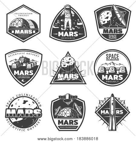 Vintage monochrome Mars research labels set with astronaut rocket space and cosmic elements isolated vector illustration