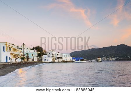 Buildings at the seafront of Agia Marina village on Leros island in Greece early in the morning.