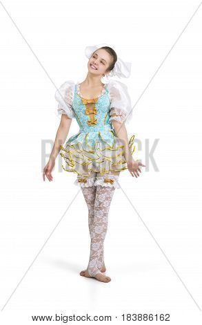 A young, smiling girl. A circus artist in a puppet suit. Studio shot on white background, isolated image.