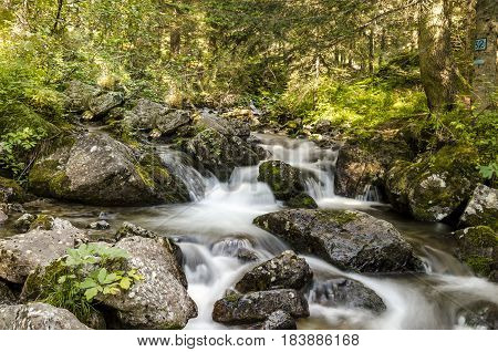 view of a small river on the moutain alps