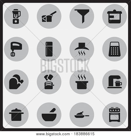 Set Of 16 Editable Cooking Icons. Includes Symbols Such As Cookware, Slice Bread, Utensil And More. Can Be Used For Web, Mobile, UI And Infographic Design.