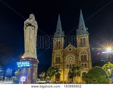 Ho Chi Minh City / Vietnam - March 27 2017: Night view on Notre Dame Cathedral in Ho Chi Minh city Vietnam. The church is established by French colonists build in 1883. Vietnamese: Nha Tho Duc Ba.