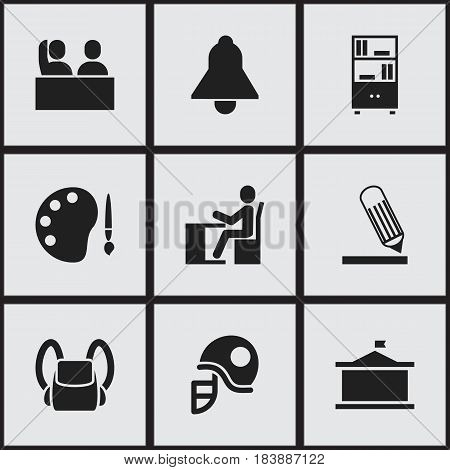Set Of 9 Editable Graduation Icons. Includes Symbols Such As Student, Schoolbag, Bookcase And More. Can Be Used For Web, Mobile, UI And Infographic Design.