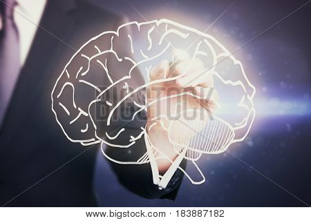 Businessman drawing creative brain sketch. Brainstorming concept