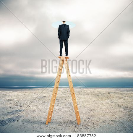 Businessman on abstract ladder looking into bright hole. Dull sky background. Imagination concept