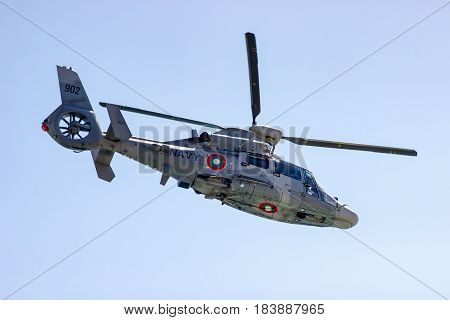 Varna Bulgaria April 26.2017 helicopter Panther during an Exercise in the Bay of the Black Sea