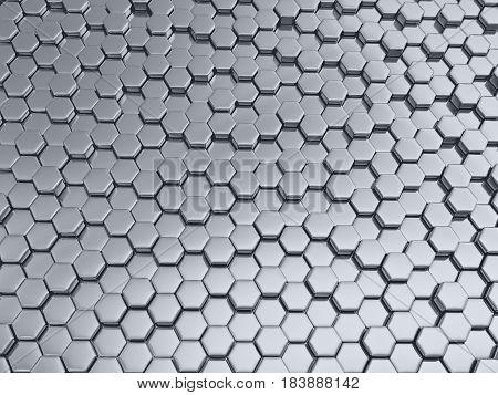 3d illustration of metal hexagonal honeycombs nano shiny background