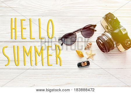 Hello Summer Text, Travel And Wanderlust Concept, Summer Vacation Background Flat Lay,  Photo Camera