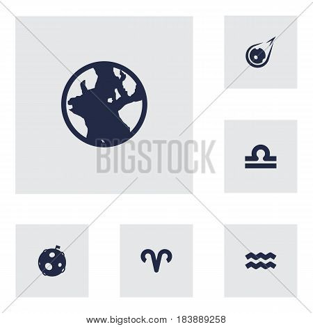 Set Of 6 Astronomy Icons Set.Collection Of Ram, Scales, Water Bearer And Other Elements.
