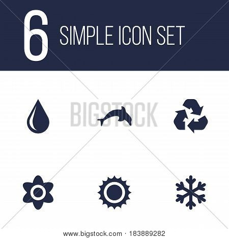 Set Of 6 Eco Icons Set.Collection Of Blob, Winter Snow, Grampu And Other Elements.