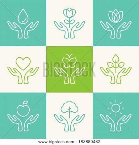 Vector Set of Outline Signs or Logos. Caring Hands with Ecology, Charity, Freedom, Health and Wellness Theme.