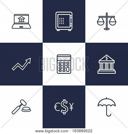 Set Of 9 Finance Outline Icons Set.Collection Of Internet Banking, Protect, Exchange And Other Elements.