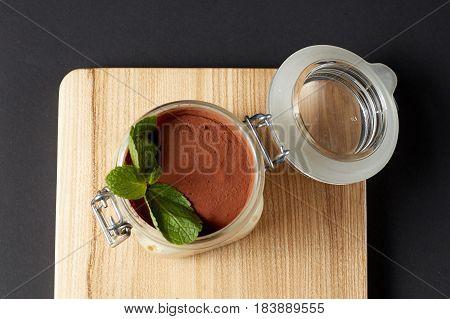 Tiramisu With Mint In A Glass Jar