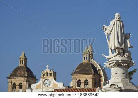 White marble statue of Christopher Columbus in the Plaza De La Aduana in the historic Spanish colonial city of Cartagena de Indias, Colombia
