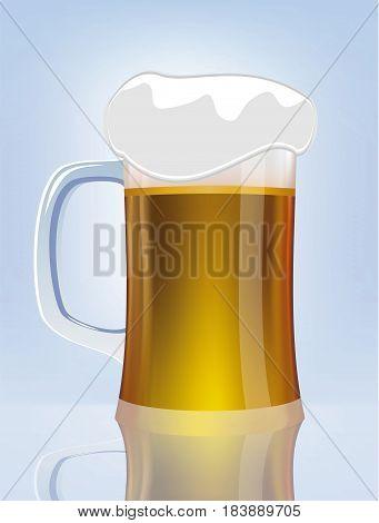 Excellent glass of beer . Vector illustration