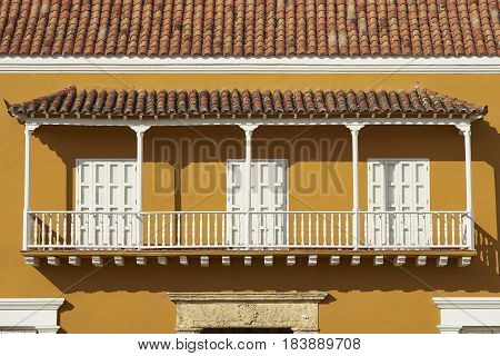 Traditional Spanish style colonial building in the historic old city of Cartagena in Colombia.
