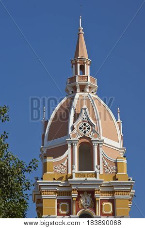 Tower of the historic Cathedral of Saint Catherine of Alexandria in the city of Cartagena de Indias, Colombia.