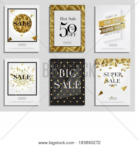 Set of Elegant Sale Banners with Golden Frame, Ribbon and Poligonal Pattern Shopping Bag. Vector Template for Website With Gold.