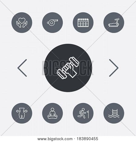 Set Of 9 Fitness Outline Icons Set.Collection Of Calendar, Workout, Whistle And Other Elements.