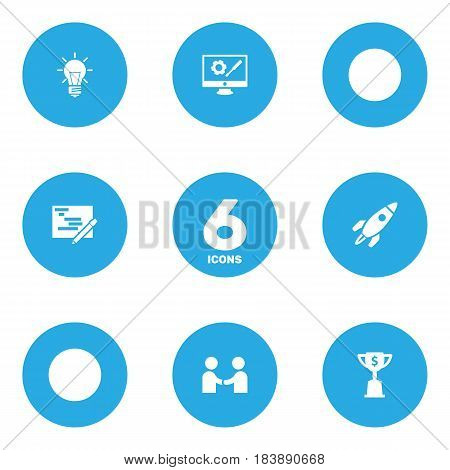 Set Of 6 Strategy Icons Set.Collection Of Writing, Goblet, Bulb And Other Elements.