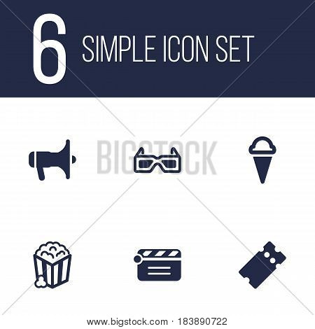 Set Of 6 Entertainment Icons Set.Collection Of Megaphone, Snack, Pass And Other Elements.