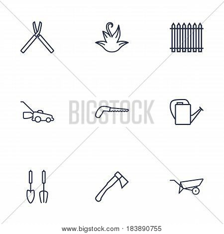 Set Of 9 Horticulture Outline Icons Set.Collection Of Herb, Instruments, Arm-Cutter And Other Elements.