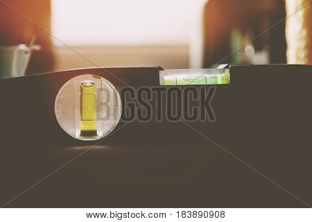 detail of the bubble in a spirit level