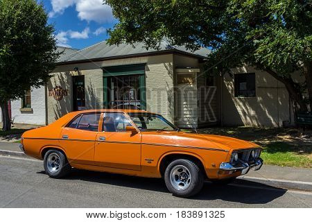 Richmond Tasmania Australia - December 21 2016: Ford Falcon 500 parked outside Richmond Bakery