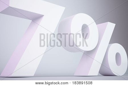 3D Rendering White   7 Percentage Isolated White Background