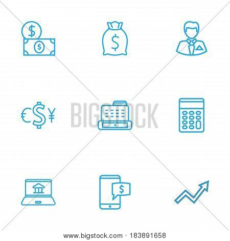 Set Of 9 Finance Outline Icons Set.Collection Of Cash Register, Moneybag, Dollar And Other Elements.