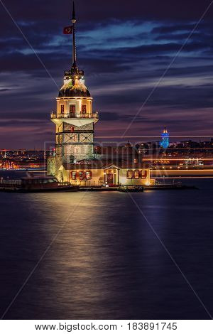 The Maiden's Tower shot on sunset, since the medieval Byzantine period, is a tower lying on a small islet located at the southern entrance of the Bosphorus strait 200 m from the coast of Uskudar in Istanbul, Turkey.