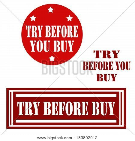 Set of label with text Try Before Buy,vector illustration