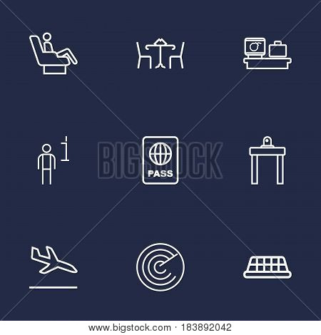 Set Of 9 Aircraft Outline Icons Set.Collection Of Airport Security, Luggage Check, Taxi And Other Elements.
