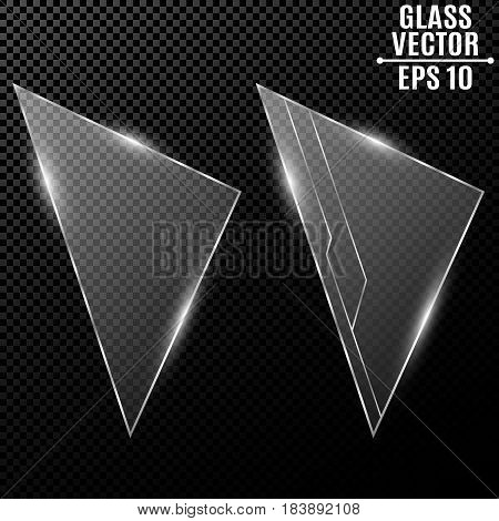 Modern transparent triangular glass. Computer high-tech technology in design. Cyber pattern from the chain. Motherboard. Contacts on the glass. Beautiful shine. Vector illustration. EPS 10