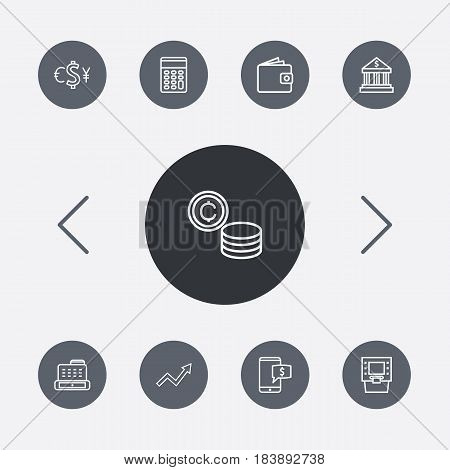 Set Of 9 Budget Outline Icons Set.Collection Of Atm, Exchange, Coins And Other Elements.