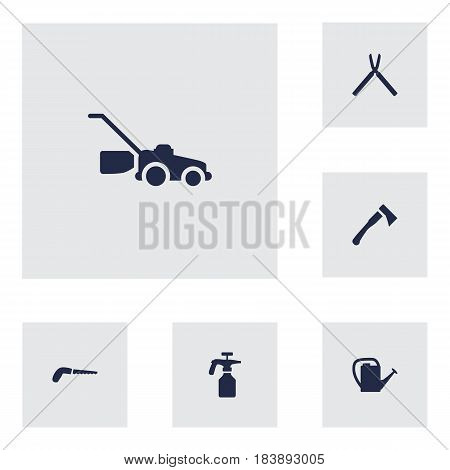 Set Of 6 Farm Icons Set.Collection Of Scissors, Axe, Spray Bootle And Other Elements.