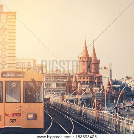Berlin Germany - april 27: U-Bahn train / subway train crossing Oberbaum Bridge in Berlin Germany.
