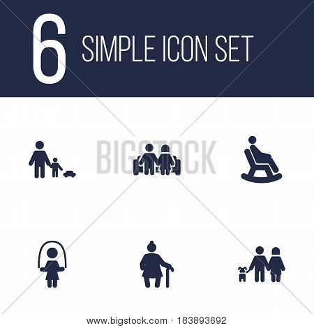 Set Of 6 Relatives Icons Set.Collection Of Girl, Rocking Chair, Grandma Elements.