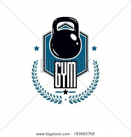 Logotype for heavyweight gym or fitness sport gymnasium retro style vector emblem. With kettlebell.
