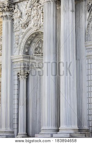 ISTANBUL, TURKEY-APRIL 2, 2017: A detail of the gate of the Dolmabahce Palace in Istanbul, Turkey.