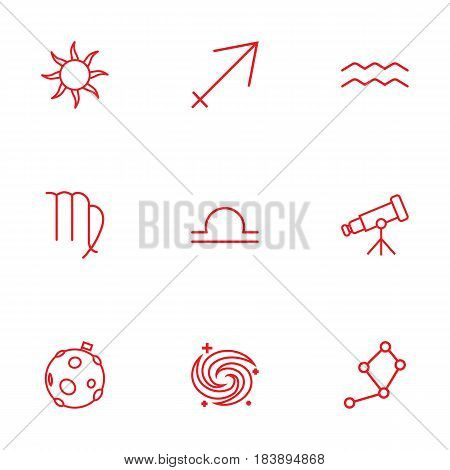 Set Of 9 Astronomy Outline Icons Set.Collection Of Sagittarius, Constellation, Aqurius And Other Elements.