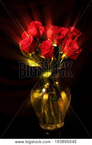 A vase of roses with a photographic ray effect.