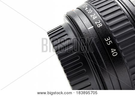 Closeup Details Of Camera Lens On White Background