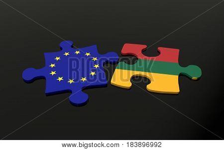 Lithuania And Eu Puzzle Pieces