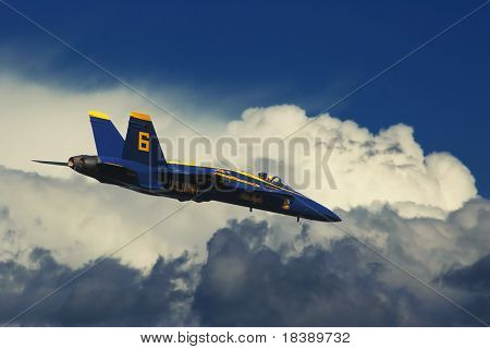 SAN FRANCISCO, CA - OCT 6: US Marine Corps Blue Angels demonstration squadron on F18 Hornet jet fighters in the sky over San Francisco during sunday airshow on October 6, 2007.