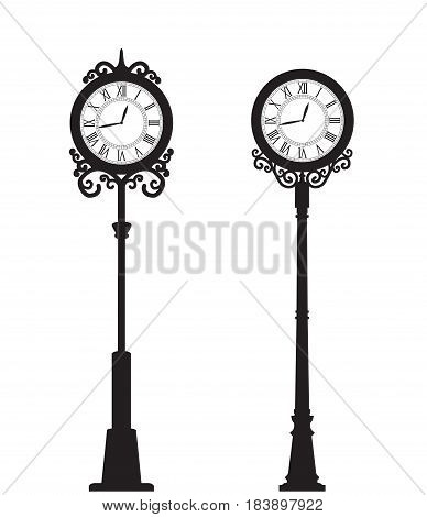 Vector illustration of two street clock. Decoration clock on white background