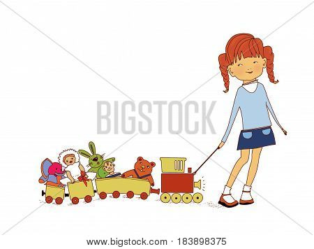 A little girl pulls a toy train with puppets a toy rabbit and a baby elephant on a rope. On a white background