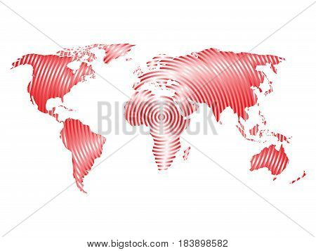 World map of grey concentric rings on white background. Worldwide communication radio waves concept Modern design vector wallpaper.