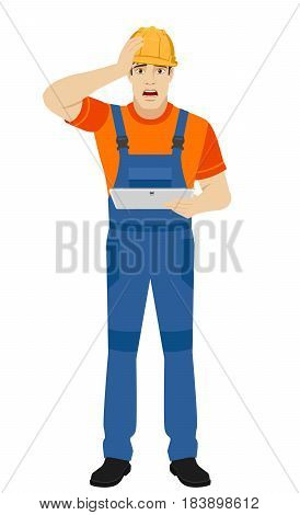 Builder holding digital tablet and grabbed his head. Full length portrait of builder character in a flat style. Vector illustration.