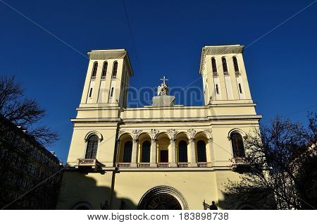 Architecture view of Peter and Paul Lutheran church in St Petersburg Russia. Facade details of Lutheran Church of Apostles Peter and Paul in St Petersburg Russia - architecture closeup view
